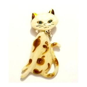 Vintage Articulated Enamel CAT Brooch with Crystal